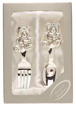 New Cutlery Cuddly Bear Spoon And Fork Set Of 2 Christening Baby Shower Gift