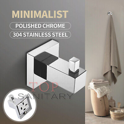 Wall Hook Chrome Stainless Steel 304 Towel Ring Robe Rack Rail Bathroom Holder