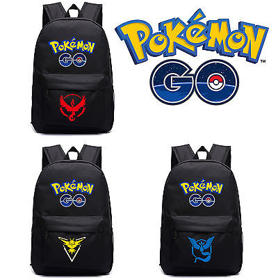 Pokemon GO Backpack Team Valor Mystic Instinct Laptop School Bag Travel Rucksack