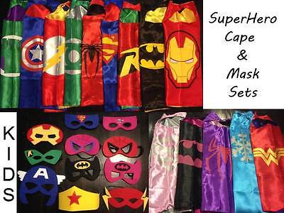 Kids Adult SuperHero Halloween Satin Cape Felt Mask Costume Fancy Dress Up Fun
