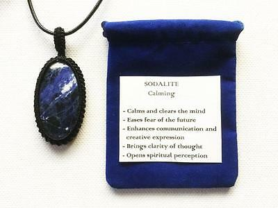 Sodalite Pendant Crystal Gemstone Necklace Adjustable Cord, Velvet Pouch