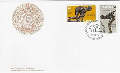 Canada Post OFDC 1975 Olympics Sculpture $1 & $2 issue Combo FDC, Sc #656-57