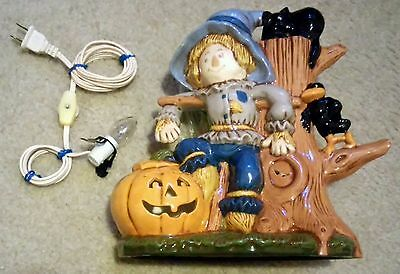 Rare Vintage - Halloween Ceramic Night Light Lamp Cramer 1982 Scarecrow Pumpkin