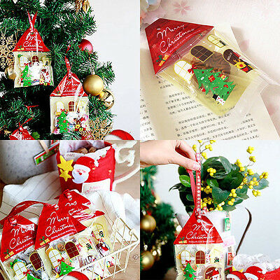 50pcs Red Christmas House Cello Cellophane Party Favour Sweet Biscuit Gift Bags