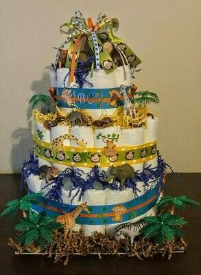 Safari Diaper Cake (blue, green, yellow)
