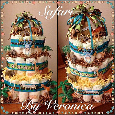Safari Diaper Cake (brown, blue, green)