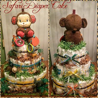 Monkey Safari Diaper Cake (3 Tier)
