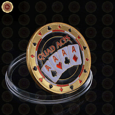 WR Poker Card Guard - Quad Aces - Gold Casino Table Game Collectible Coin Chip