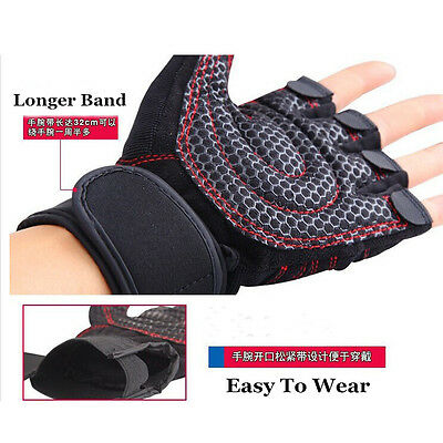 Men Weight Lifting Gym Sport Training Wrist Wrap Gloves Exercise Workout Running