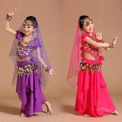 ADN02# Kids Girls Belly Dance Costume (Top, Skirt...) 6 Colors 3 Sizes