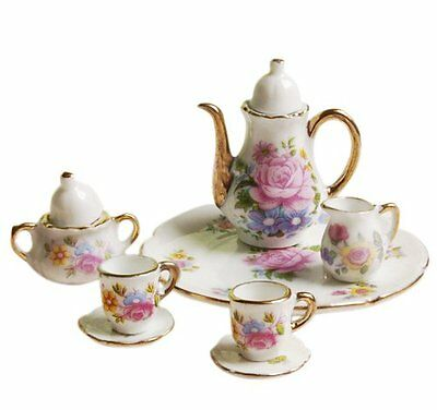 8pcs 1/6 Dollhouse Miniature Dining Ware Porcelain Dish/Cup/Plate Tea Set- Rose