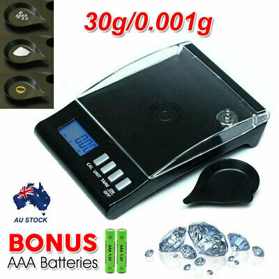 0.001g 30g Electronic Digital Milligram Pocket Jewellery Scale LCD Display Black