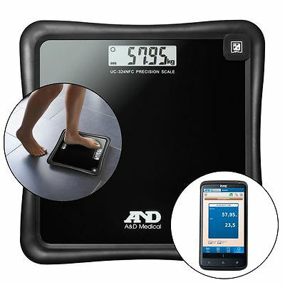 A&D Medical Precision KG/LB Personal Bathroom Weight Scale with NFC Connectivity