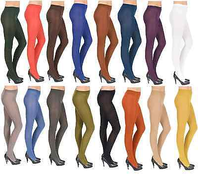 Thick Opaque Microfibre Tights Various Colours, 60 Denier Sizes S-XL