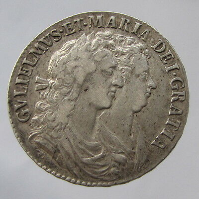 William & Mary, silver halfcrown, 1689, primo, second crowned shield VF
