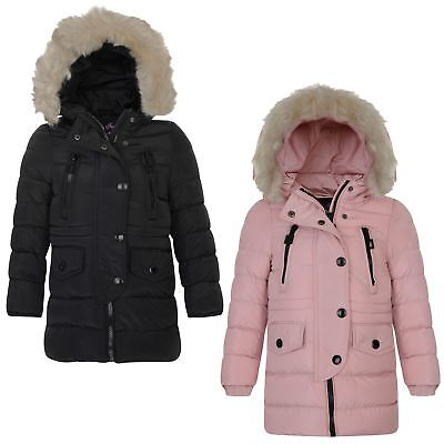 Girls Long Cotton Down Quilted Winter Jacket Kids Detach Trim Zip Coat 3-14 Year