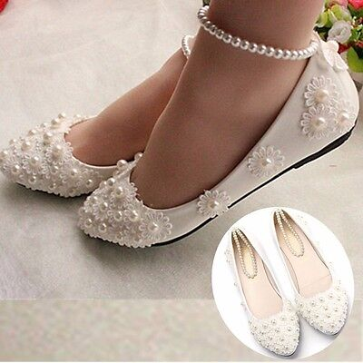 White Lace Wedding Shoes Pearls Ankle Trap Bridal Flats Low High Heels Size5.5-8