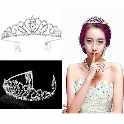 PIXNOR Wedding Bridal Rhinestone Tiara/Crown/Hairband/Hair Loop & Small Comb