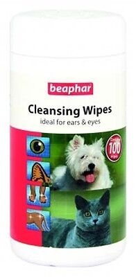 Beaphar Dog Cat Pet Hygienic Aloe Cleansing Wipes Cleans Eyes Ears Paws