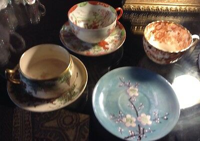 Mixed Lot Of Hand painted, Japanese Gold Fine china tea cup and saucer
