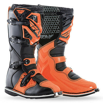 Fly Racing Maverik Boots 2017 Orange Black Adult Motocross MX Dirtbike SIZE 9