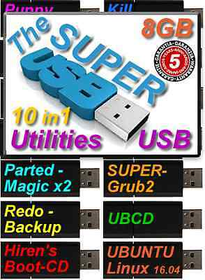 Computer Repair & Recovery for Windows Win XP/7/8/8.1/10 Bootable 8gb USB Kit