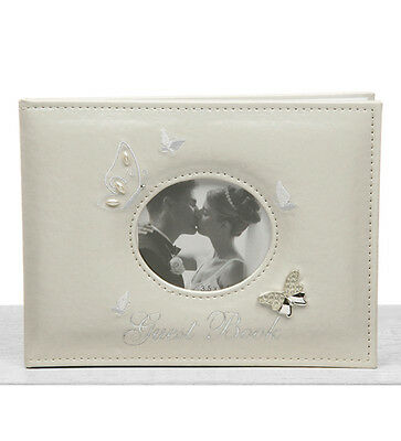 New White Butterfly Design Wedding Guest Book (With Photo Cover)