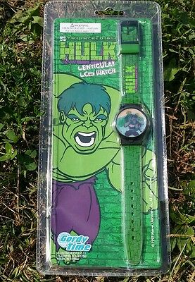 Incredible Hulk Lenticular LCD Hologram Watch Gordy Time 1997 New Package Wear