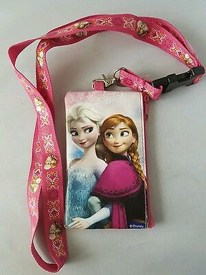 Disney Frozen Pink Lanyard With Coin Purse Zip Pouch