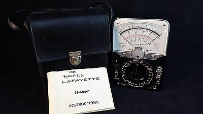 VINTAGE ANALOG MULTIMETER LAFAYETTE 99-50841 Made in Japan with case and booklet
