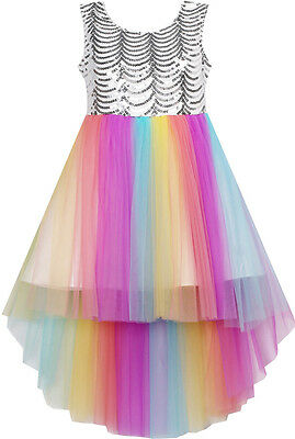 US Seller Flower Girl Dress Sequin Mesh Party Wedding Princess Tulle Size 7-14