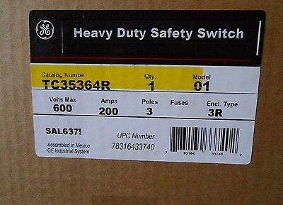 NEW In Box GE TC35364R Double Throw manual transfer switch 600V 200Amp 3-Pole 3r