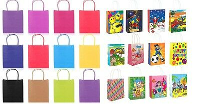 12 X Paper Loot Gift Party Bags Handles Wedding Birthday Christmas Shop Carrier