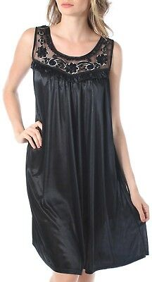 Venice Women's Silky Looking Nightgown with Sequins and Ribbon Roses Style 40N