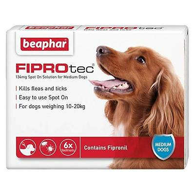 Beaphar FIPROtec Fipronil Spot On Flea and Tick Solution for Dogs 1-6 Pipettes