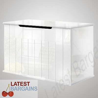 White High Gloss Toy Box Kids Storage Clothes Blanket Chest Nursery Organiser