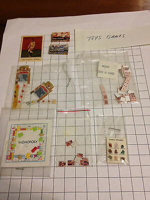 Lot 8 dollhouse miniatures paper toys games baseball cards Monopoly minerals