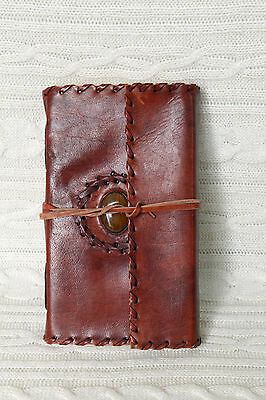 Handmade Leather Journal Diary Day Organizer Planner Tiger Eye Stone Embossed