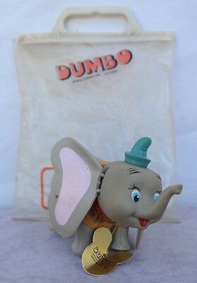 Vtg 1970s DUMBO THE ELEPHANT PLASTIC CARTOON FIGURE WALT DISNEY W/ Bag