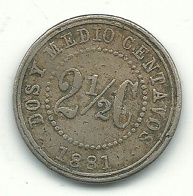 A Very Nice Details 1881 Colombia 2 1/2 Centavos Coin-Oct139