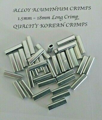 ALUMINIUM ALLOY CRIMP 1.5mm x 100 Pk 18mm LONG CRIMPS TERMINAL FISHING TACKLE