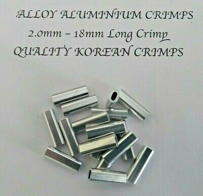 100 x 2mm ALUMINIUM ALLOY CRIMPS 18mm LONG CRIMP FISHING TRACE MONO WIRE TRACE