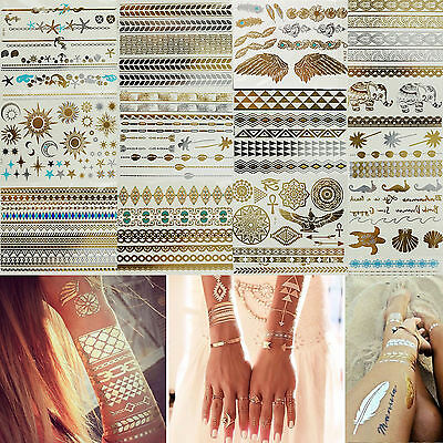 Shimmer Temporary Body Tattoos Metallic Inspired Art Makeup Gold Silver Stickers