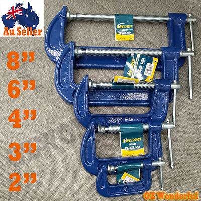 """2,3,4,6,8"""" G Clamp Work Heavy Duty Bench Vice Grip Tool Cast Iron Wood Metal"""