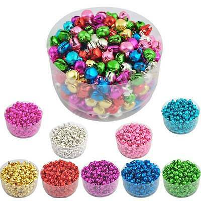 100 Pcs Xmas Colorful Iron Beads Christmas Jingle Bells Necklace DIY Jewelry
