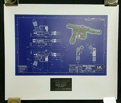 Master Replicas Star Wars Han Solo Blueprint Lithograph 1720/5000 No Frame