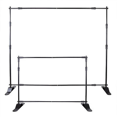 8' Telescopic Backdrop Stand Adjustable Banner Display Trade Show Wall Exhibitor