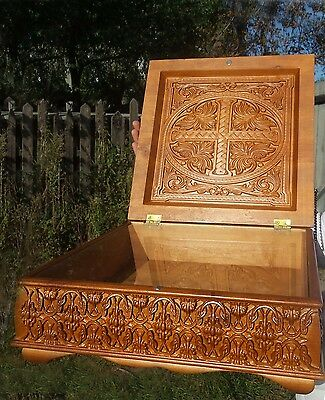 New Orthodox Carved Wooden Reliquary box. Rare.