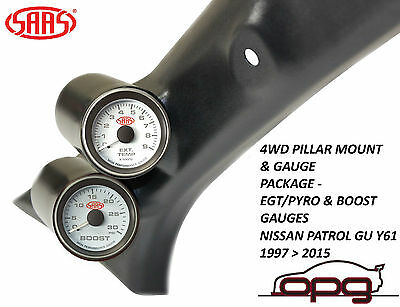 Saas Pillar Pod Gauge Kit  Suits Gu Nissan Patrol 1997 > 2015 Boost + Egt Gauges