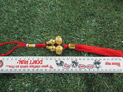 Wu Lu/Gourd, Twin Hanging, Gold, H: 345 x W: 50, D: 25mm  063
